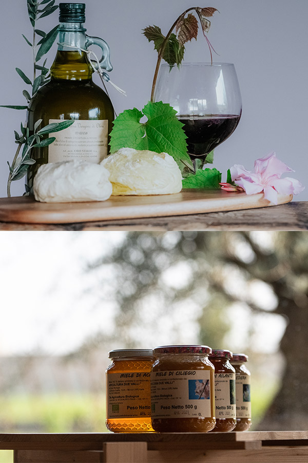 Olive oil, wine and honey